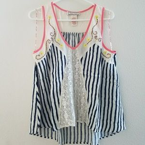 Flying Tomatoe Stripped Lace Tank